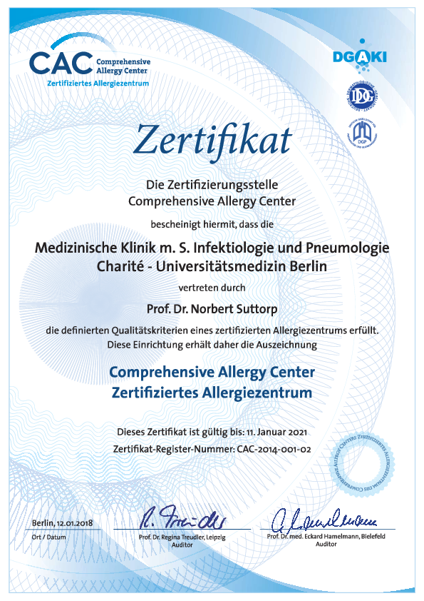 Certificate Certified Allergy Centre ©  Medical Clinic with focus on Infectiology and Pneumology/Charité